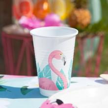 KUBECZKI plastikowe Flamingo Hawajskie Party 8szt KONIEC SERII