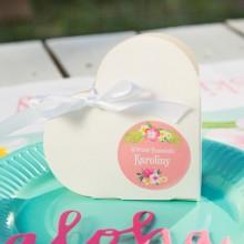 PUDEŁECZKA serca Flamingo (+etykiety z imieniem+białe wstążki) 10szt