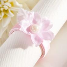 OBRĄCZKI NA SERWETKI satynowe Kwiatki z listkiem 10szt RÓŻOWE 2 OSTATNIE PACZKI