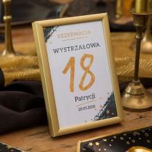 DEKORACJA stołu na 18 tabliczka (+złota metalowa ramka)