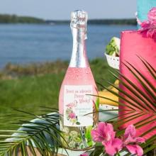 NAKLEJKI na drinki/alkohol Toast Z IMIENIEM Flamingo 8szt