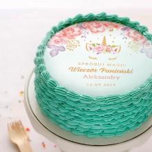 OPŁATEK personalizowany na tort Unicorn Jednorożec Ø20cm