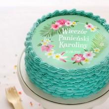 OPŁATEK personalizowany na tort Flamingo Party Ø20cm