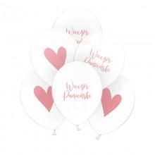 BALONY transparentne dwustronne Wieczór Panieński/Serce róż 30cm 6szt