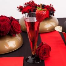 KIELISZKI do szampana z czarną nóżką 6szt