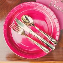 SZTUĆCE plastikowe widelce+noże+łyżki 6kpl LUX ZŁOTE