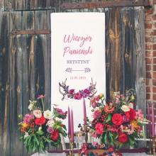 KAKEMONO personalizowane na panieński + listwa 60x150cm Kwiaty Boho