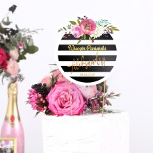 TOPPER na tort personalizowany Flowers&Stripes + IMIĘ