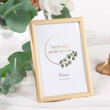 DEKORACJA na stół tabliczka Komunia/Chrzest Eukaliptus (+złota metalowa ramka)