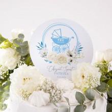 TOPPER na tort na Chrzest personalizowany Kwiatowy Wózek BŁĘKIT Z IMIENIEM
