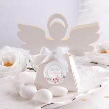 PUDEŁECZKA Aniołek na Chrzest Kwiatowy Wózek RÓŻ 10szt (+etykiety z imieniem+białe wstążki)