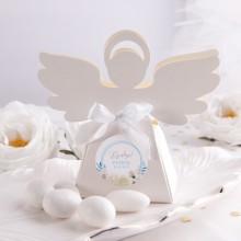 PUDEŁECZKA Aniołek na Chrzest Kwiatowy Wózek BŁĘKIT 10szt (+etykiety z imieniem+białe wstążki)