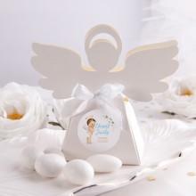 PUDEŁECZKA Aniołek na Chrzest Niebieski Aniołek 10szt (+etykiety z imieniem+białe wstążki)