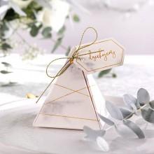 PUDEŁECZKA podziękowanie piramidki Marmur Marble (+sznurek złoty+bileciki) 10szt
