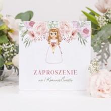 ZAPROSZENIA komunijne Z dziewczynką Liliowe Love 10szt (+koperty)