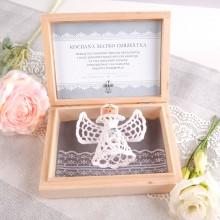 PODZIĘKOWANIE dla Chrzestnych/Dziadków w pudełku Koronkowy Anioł z kryształkiem