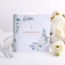 ZAPROSZENIA komunijne Kwiaty Vintage ze wstążką 10szt (+koperty) KONIEC SERII