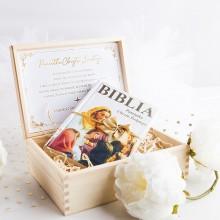 BIBLIA w drewnianym pudełku PAMIĄTKA CHRZTU ŚWIĘTEGO