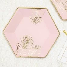 TALERZYKI papierowe jasnoróżowe heksagon Złote Liście 6szt