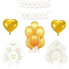ZESTAW balonów na Chrzest BIAŁO-ZŁOTY