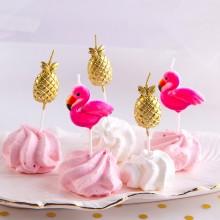 ŚWIECZKI pikery flamingi i ananasy 5szt