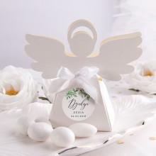 PUDEŁECZKA Aniołek na Komunię i Chrzest Delikatne Kwiaty 10szt (+etykiety z imieniem+białe wstążki)
