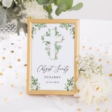 DEKORACJA stołu na Chrzest Tabliczka Delikatne Kwiaty (+złota metalowa ramka)