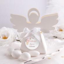 PUDEŁECZKA Aniołek na Komunię i Chrzest Subtelny Róż 10szt (+etykiety z imieniem+białe wstążki)