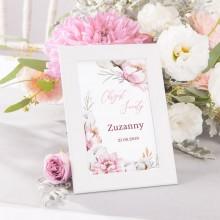 DEKORACJA stołu na Chrzest Tabliczka Subtelny Róż (+ramka)