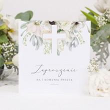 ZAPROSZENIA komunijne Świeżość Kwiatów 10szt (+koperty)