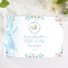 KSIĘGA Pamiątkowa Chrztu Świętego Chłopiec w Kwiatach Z IMIENIEM (+wstążka błękitna)