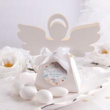 PUDEŁECZKA Aniołek na Chrzest Chłopiec w Kwiatach 10szt (+etykiety z imieniem+białe wstążki)
