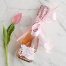 WINO MUSUJĄCE Premium Z IMIENIEM 200ml Rosegold Flowers ZE SŁOMKĄ