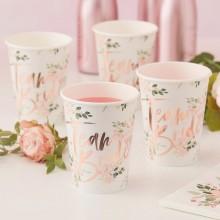 KUBECZKI papierowe Team Bride Rosegold Flowers 8szt