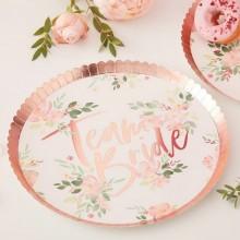 TALERZYKI papierowe Team Bride Rosegold Flowers 25cm 8szt