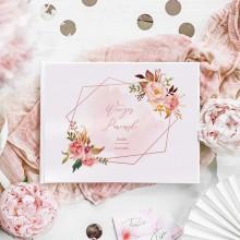 KSIĘGA PAMIĄTKOWA Wieczoru Panieńskiego Rosegold Flowers Z IMIENIEM