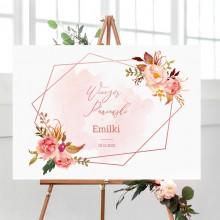 PLAKAT na panieński Rosegold Flowers Z IMIENIEM 50x70cm