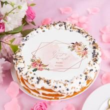 OPŁATEK personalizowany na tort Rosegold Flowers Ø20cm