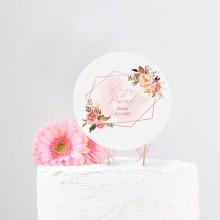 TOPPER na tort personalizowany Rosegold Flowers + IMIĘ