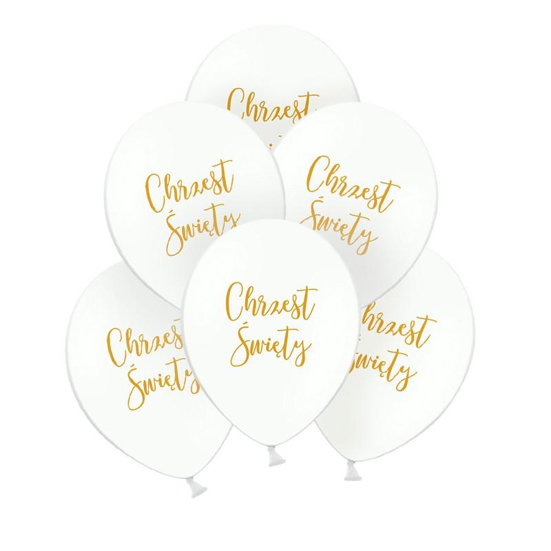 Balony na Chrzest ze złotym napisem