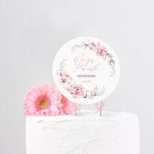 TOPPER na tort personalizowany Subtelny Róż + IMIĘ