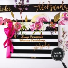 KSIĘGA na panieński CZARNE KARTKI DO INSTAXA Flowers&Stripes Z IMIENIEM (+wstążka c.róż)