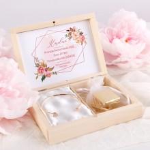PREZENT na panieński w pudełku z bransoletką Rosegold Flowers