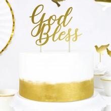 TOPPER na tort Chrzest/Komunia God Bless ZŁOTY