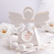 PUDEŁECZKA Aniołek Rosegold Flowers 10szt (+etykiety z imieniem+białe wstążki)