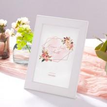 DEKORACJA na stół komunijny tabliczka Rosegold Flowers (+biała ramka na podstawie)