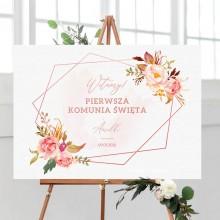 PLAKAT komunijny personalizowany Rosegold Flowers 50x70cm