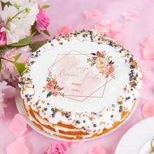 OPŁATEK personalizowany na tort komunijny Rosegold Flowers Ø20cm