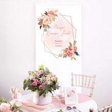 DEKORACJA sali na Komunię z imieniem +listwa 60x150cm Rosegold Flowers