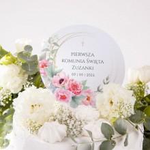 TOPPER na tort komunijny Zapach Piwonii Z IMIENIEM